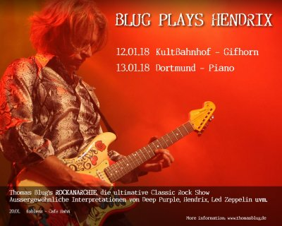 Blug plays Hendrix am 13.01.2018 in Piano Dortmund 20h30